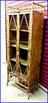 Vintage English Bamboo Tall Glass Door Cabinet Curio China Book Display Cupboard
