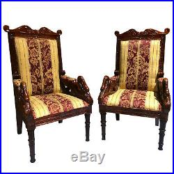 Vintage Reproduction Regency Victorian Carved Mahogany Swan Club Chairs A Pair