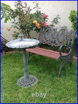 Vintage Set Of Cast Iron Bench With Victorian Backrest Design And Bird Bath