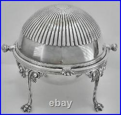 Vtg ENGLISH SLV PLATE DOMED ROLL TOP CHEESE BUTTER SERVER withPIERCED INSERT DISH