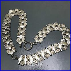 WIDE Antique Victorian English silver Bookchain Book Chain Bolt Clasp Necklace