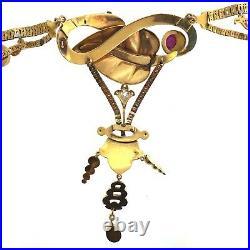 WOW English Victorian Snake Necklace Diamond Ruby Pearl Enamel 18K yellow gold