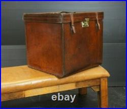 XL Victorian Vintage Leather English Hatbox Trunk
